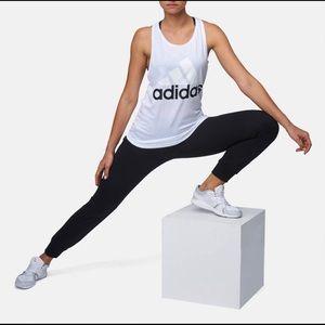 Adidas Black White Logo Racerback Tank Large